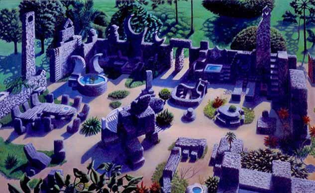 コーラル城全景。この庭園の全てをリーズカルニンが独りで作り上げた。 B級観光名所として訪れる人は少なくない。