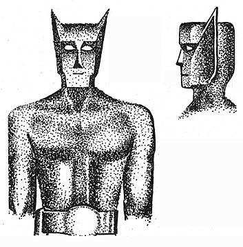 石っぽいテクスチャを加えれば、ほらなんか似てるでしょ画像。 モアイというか、どこかバットマンにも似ている。仲間かも知れない。
