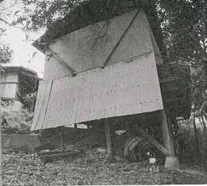 Tが自殺した小屋。背後で手を縛られていたが、自殺と判断される。近所の住民も争うような物音は聞いていない。