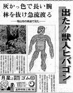当時の新聞記事。 『出た!ヒバゴン』と見出しが躍っているが、これは山野町で目撃されたため後にヤマゴンと命名される個体。 ヤマゴンはちょっとマッチョである。