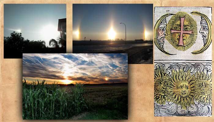 様々な幻日。 太陽から離れた場所に光源が見える。 一番右はニュルンベルク年代記で描かれた幻日。 デンマーク語ではsolhunde(太陽犬) スウェーデン語ではsolvarg(太陽狼)とイヌ科と結びつけられているようだ。太陽の飼い犬と考えたら、なんだか可愛い。 画像出典:sandog