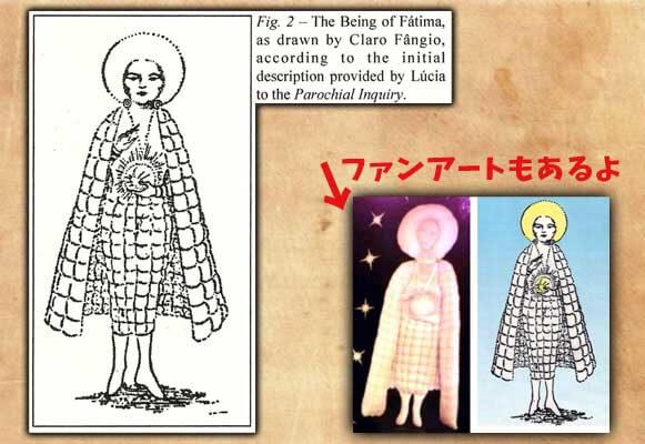 これが聖母だ! の図。 海外UFOファンサイトで目にすることが出来る。残念ながらイラストの出典元の特定は断念した。 色をつけたらボーボボーになることがよくわかる。