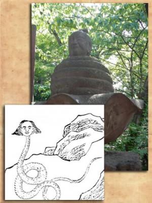 井の頭の弁財天で見ることのできる『宇賀神』像。下の絵は中国の人面蛇身。画像出典:okakuro-archives