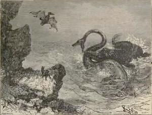 我々の大好きなジュール・ヴェルヌ『地底旅行』より挿絵。1864年発表。 古書の暗号を読み解いたリーデンブロック教授がアイスランドの山の火口から地下世界へと降りてゆくと、そこには旧世界が手つかずのまま残されていた。 画像出典