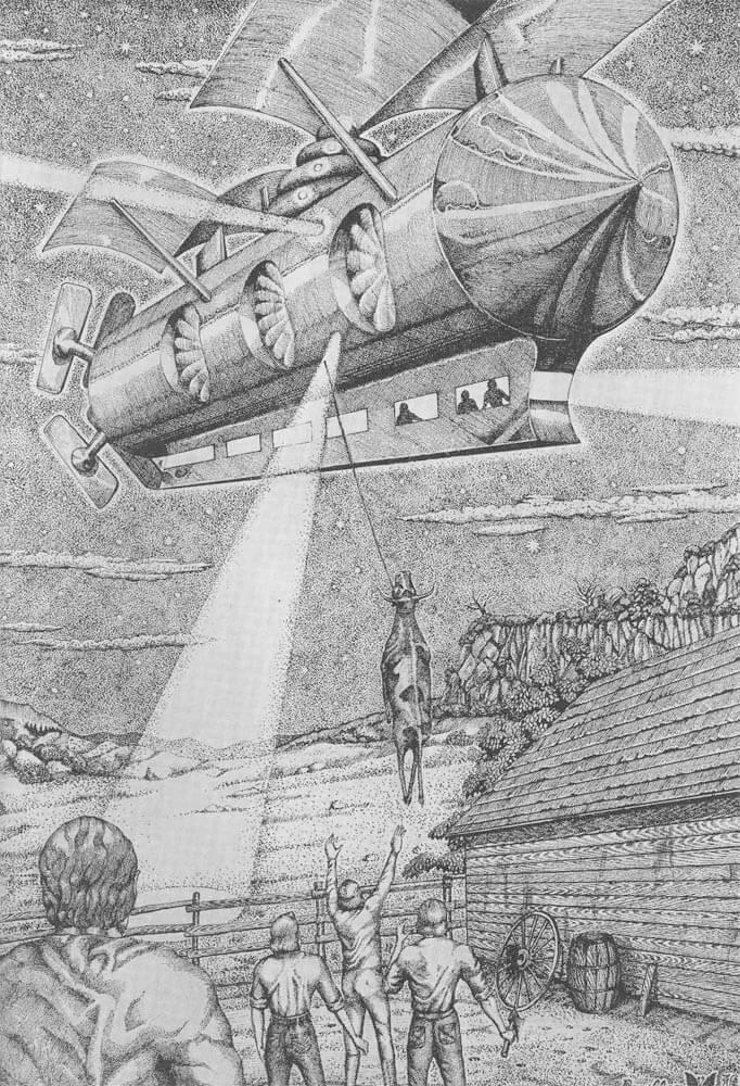 牛をさらう幽霊飛行船図。