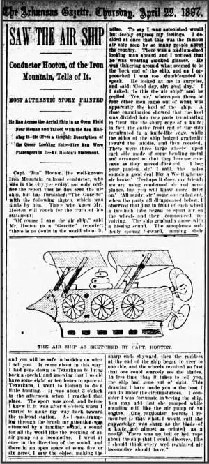 1897年4月22日付けのアーカンソー・ガゼット紙に掲載されたフートン氏の目撃談と、そのイラスト。
