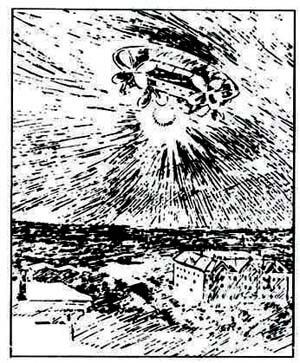 サンフランシスコ・コール紙に掲載された幽霊飛行船のイラスト。これは1896年11月での騒ぎのもの。強烈なサーチライトを照射していたという。