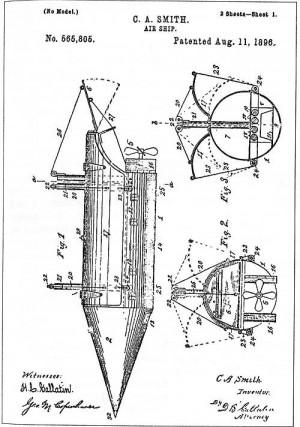 1890年代に多数取得された飛行船の特許申請。 飛ぶか、飛ばないかは別として、アイデアの権利取得が激化していた。 画像のものは『1896年.8月』とちょうど騒ぎの始まる前に出されている。