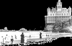 1900年前ごろのサンフランシスコ・クリフハウス。サクラメントから南西125kmほどの場所にある。 この太平洋を望むこの不思議なレストランの上空にも幽霊飛行船がやって来たという。